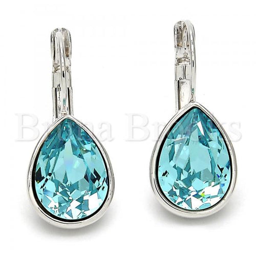 Rhodium Plated Leverback Earring, Teardrop Design, with Swarovski Crystals, Rhodium Tone
