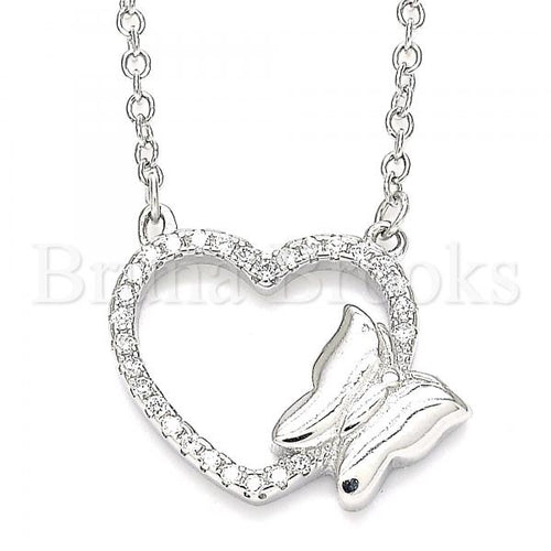 Bruna Brooks Sterling Silver 04.336.0189.16 Fancy Necklace, Heart and Butterfly Design, with White Crystal, Polished Finish, Rhodium Tone