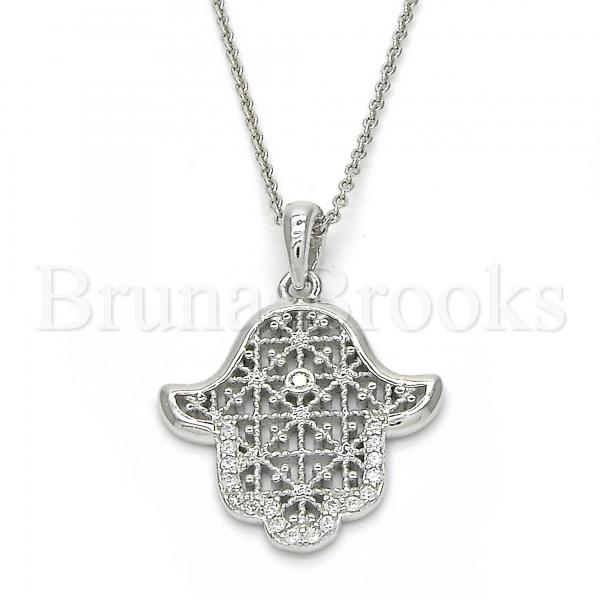 Sterling Silver 05.336.0019 Fancy Pendant, Hand of God Design, with White Cubic Zirconia, Polished Finish, Rhodium Tone