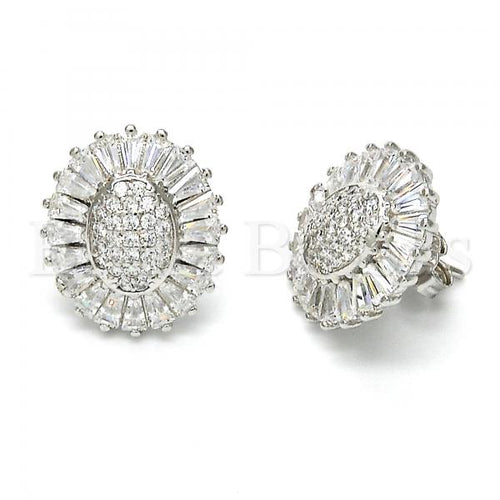 Bruna Brooks Sterling Silver 02.175.0117 Stud Earring, with White Cubic Zirconia, Polished Finish, Rhodium Tone