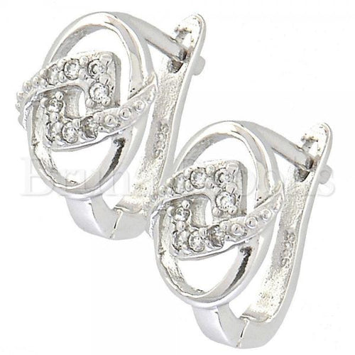 Bruna Brooks Sterling Silver 02.176.0024 Huggie Hoop, with White Cubic Zirconia, Polished Finish, Rhodium Tone