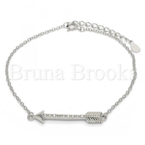 Bruna Brooks Sterling Silver 03.336.0011.07 Fancy Bracelet, with White Micro Pave, Polished Finish, Rhodium Tone