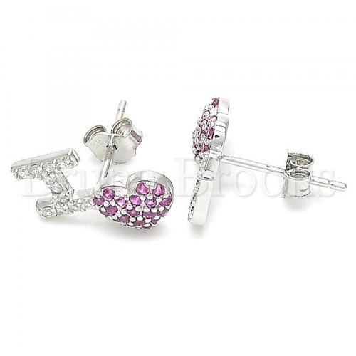 Bruna Brooks Sterling Silver 02.371.0001 Stud Earring, Heart Design, with Ruby and White Cubic Zirconia, Polished Finish, Rhodium Tone