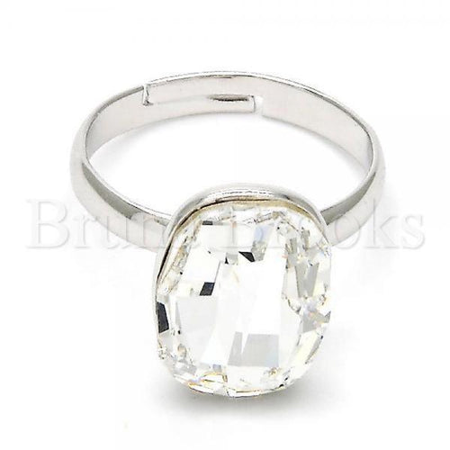 Rhodium Plated Multi Stone Ring, with Swarovski Crystals, Rhodium Tone