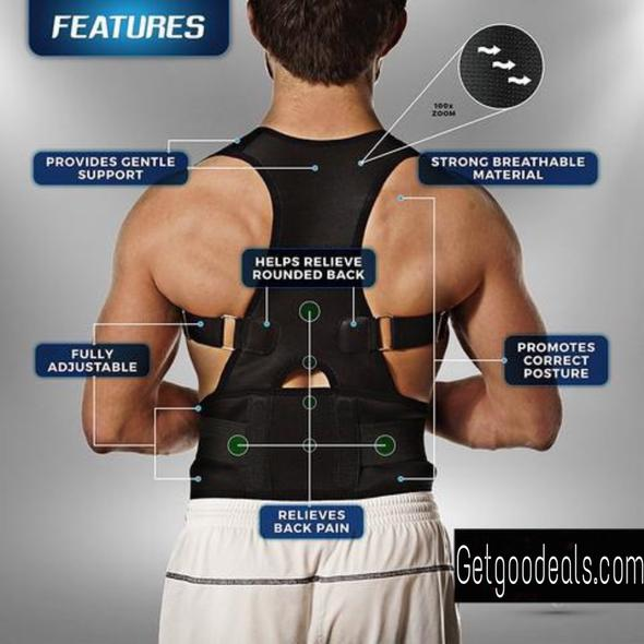 Premium Magnetic Posture Corrective Therapy Back Brace For Men & Women