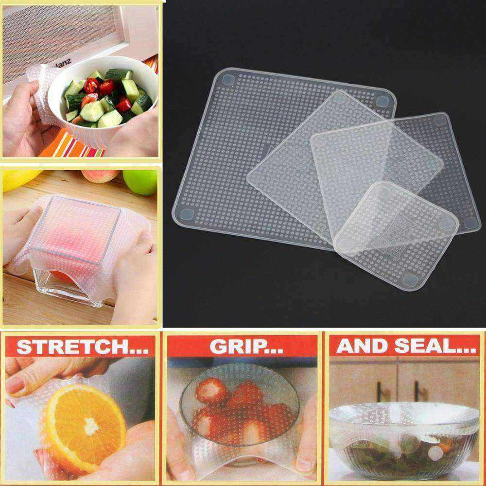 4 Pcs Reusable + Stretchable Silicone Food Wraps-Kitchen & Dining-NEthing Store