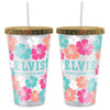 Elvis Aloha From Hawaii Floral Straw Tumbler