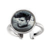 Sterling Silver Elvis Blue Sweater Adjustable Ring