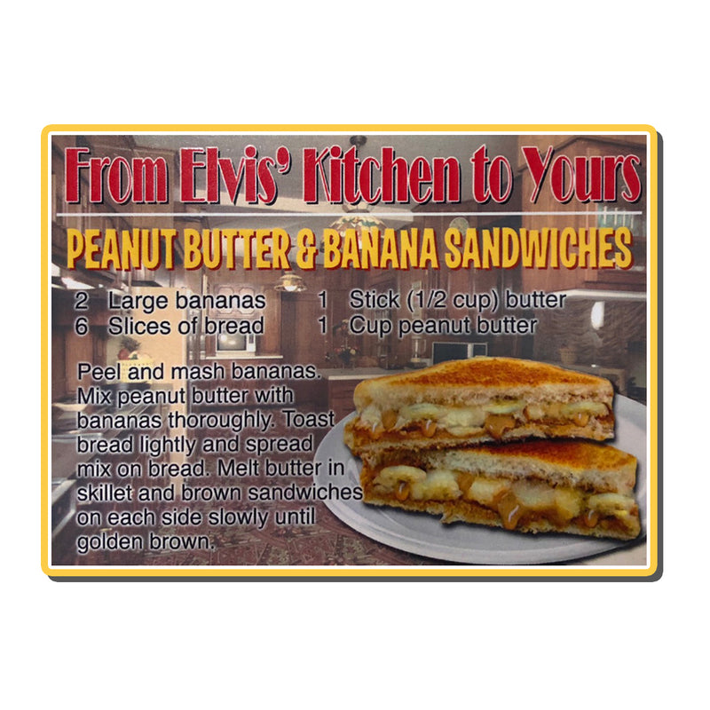 Peanut Butter And Banana Recipe Wood Magnet Graceland Official Store
