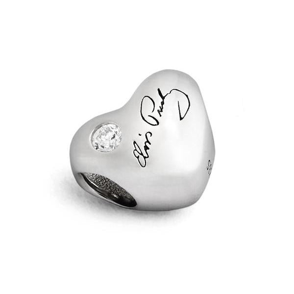 Sterling Silver Elvis Presley Signature Heart Bead Charm