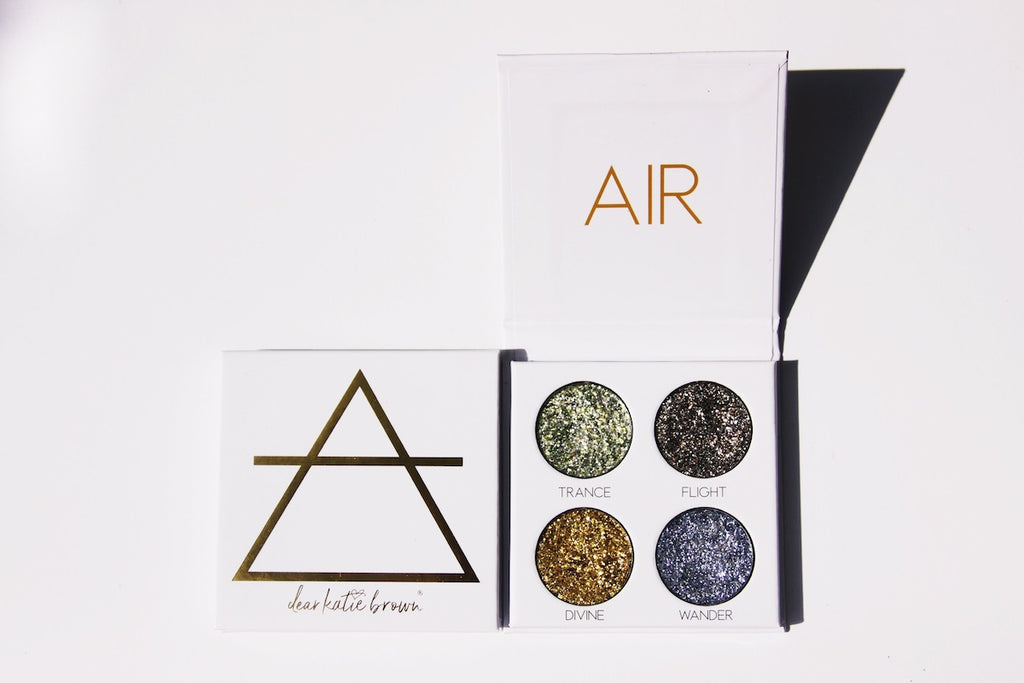 green, yellow, gold, silver, blue pressed glitter palette