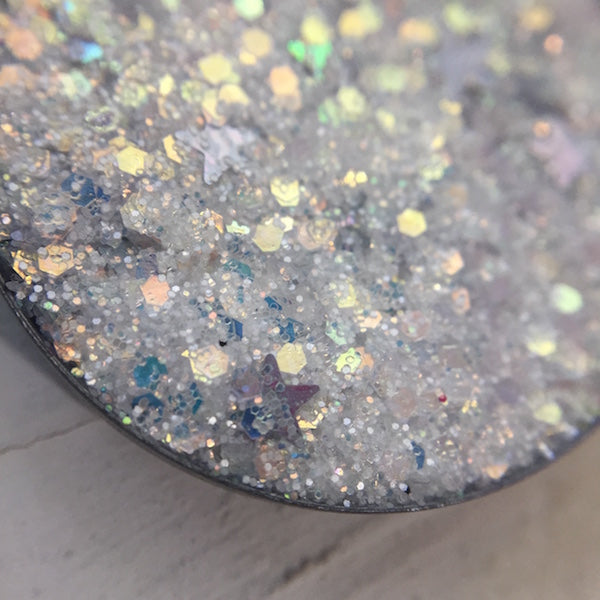 White Pressed Glitter Eyeshadow with Stars