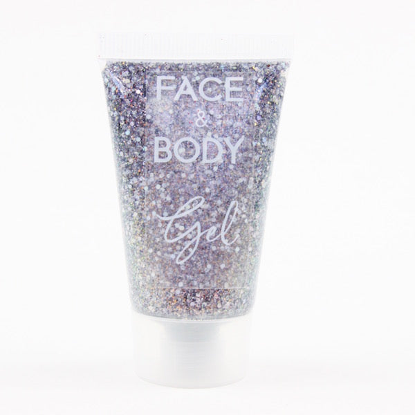 Dark Star silver holographic face and body glitter gel