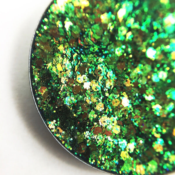 Encantada green gold pressed glitter
