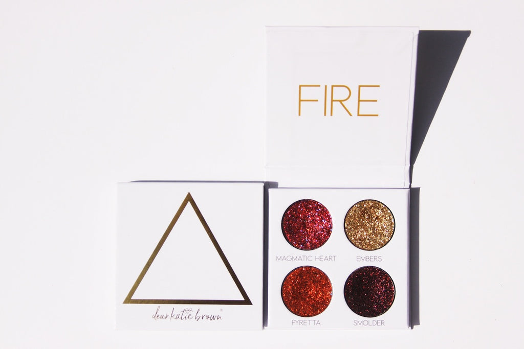 red, gold, orange pressed glitter palette