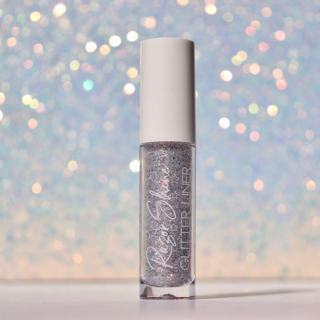white, silver, rainbow holographic glitter liner
