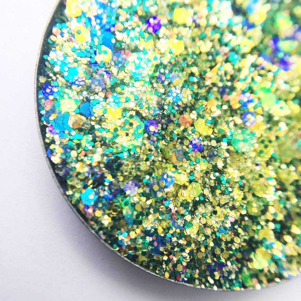 citrus green chunky pressed glitter