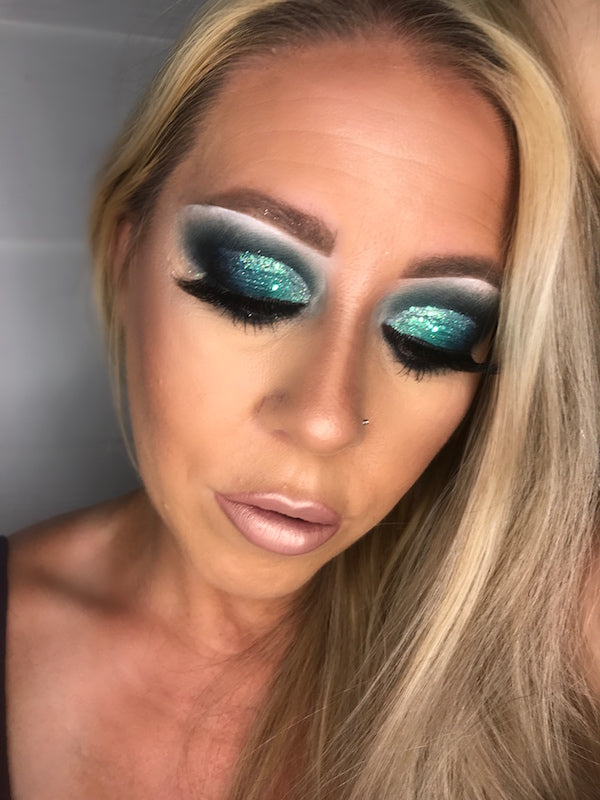 Katie Brown wearing Agave pressed glitter