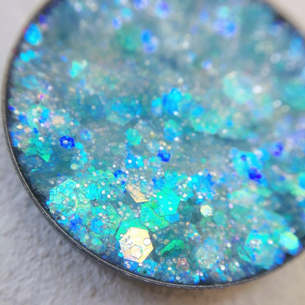 mako blue pressed glitter