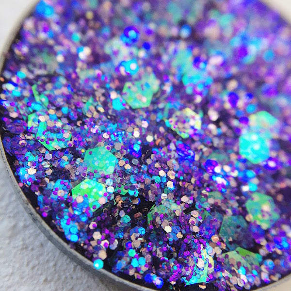 Mercury purple pressed glitter