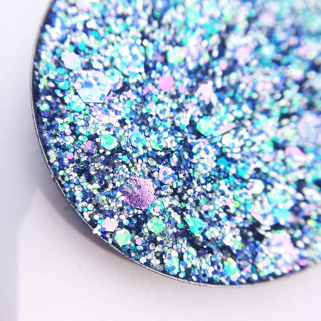 chunky blue pressed glitter