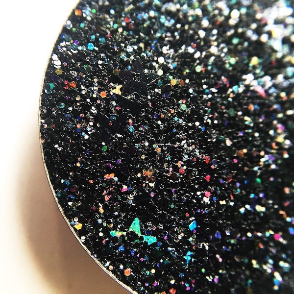 Black holographic pressed glitter with holographic stars dearkatiebrown.com