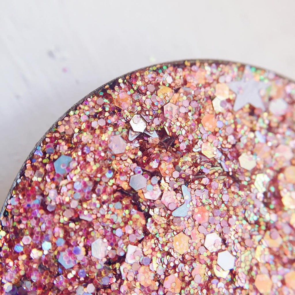 pink pressed glitter with stars peachy