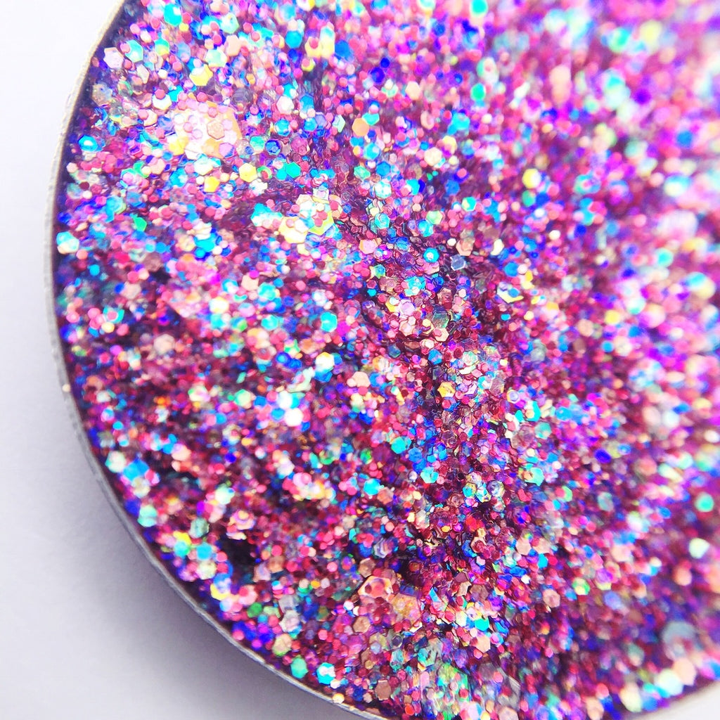 pink pressed glitter with rainbow shift