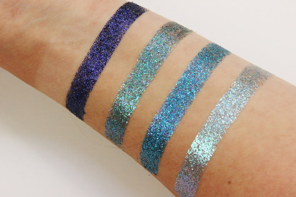 blue pressed glitter swatches dearkatiebrown.com