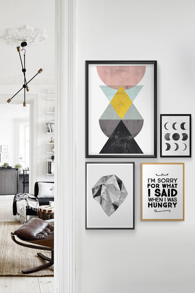 typographic prints with geometric abstract composition inside of nordic interior