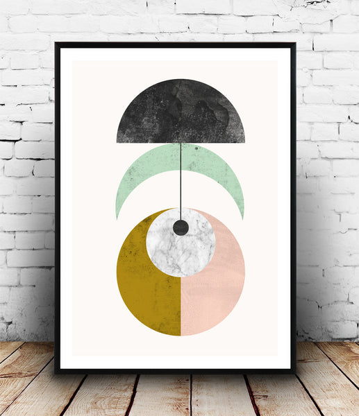 Geometric mobile print in pastel colors - Wallzilladesign