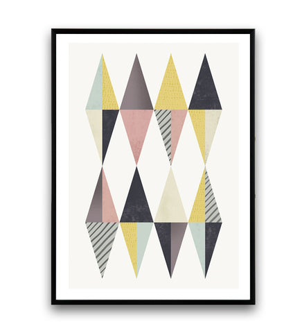 Abstract triangle art print, watercolor design poster, minimalist poster