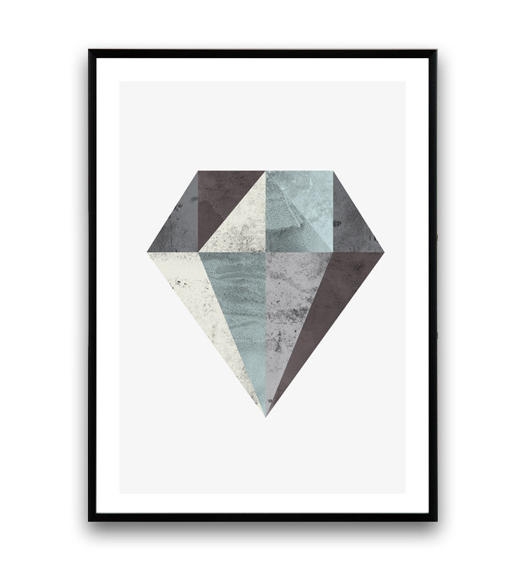 Abstract geometric print, Scandinavian minimalist poster, diamond art - Wallzilladesign