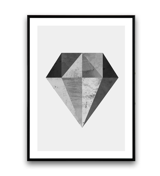 Black and white print, geometric diamond poster, minimalist art - Wallzilladesign