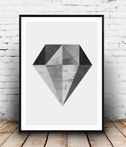 Black and white print, geometric diamond poster, minimalist art