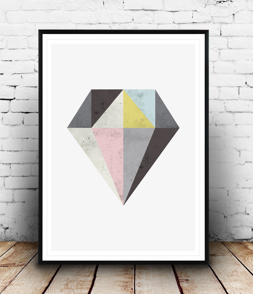 DIamond print, geometric home decor, Abstract art - Wallzilladesign