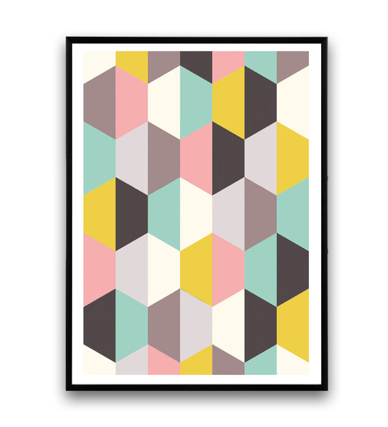 Hexagon pattern print in pink, yellow and turquoise - Wallzilladesign