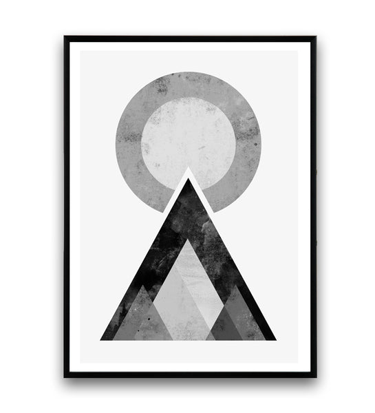 Black and white geometric mountains minimalist print - Wallzilladesign