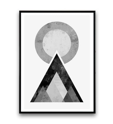 Black and white geometric mountains minimalist print