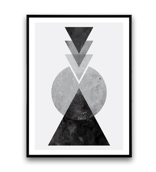 Black and white geometric composition print