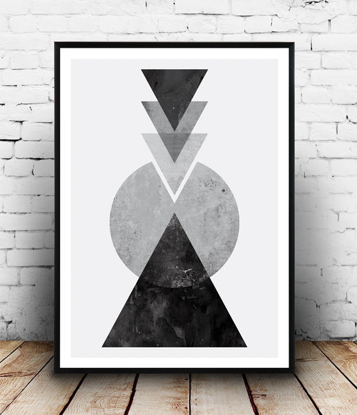 Black and white geometric composition print - Wallzilladesign