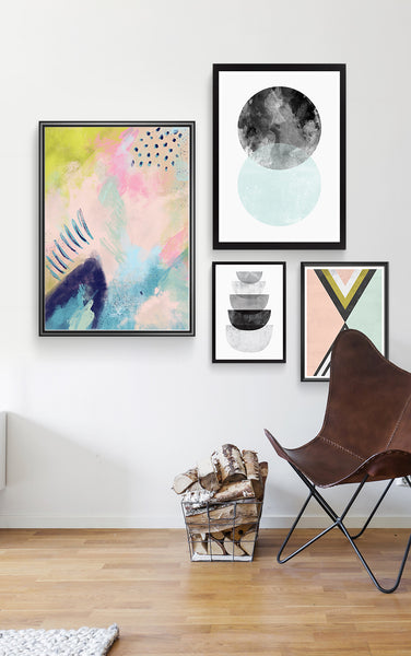 Blush pink abstract painting, colorful modern art print, nordic design poster