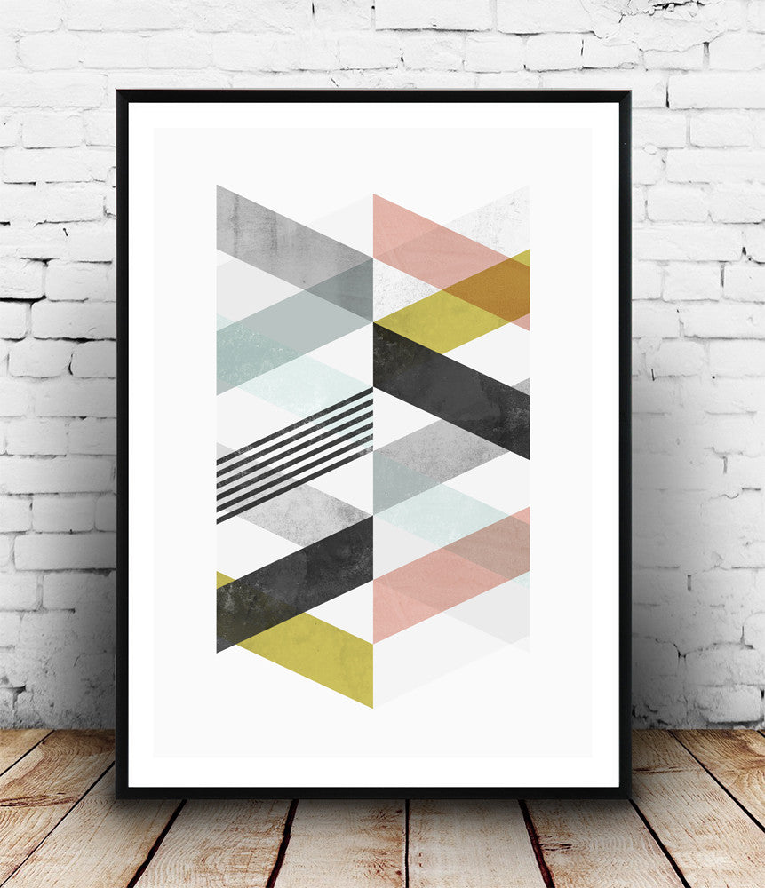 Pastel colored chevrons geometric abstract print - Wallzilladesign