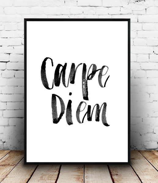 Carpe diem handwritten quote poster - Wallzilladesign