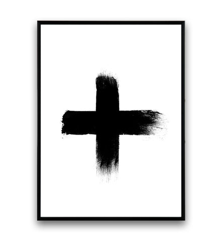 Black brush strokes cross print - Wallzilladesign