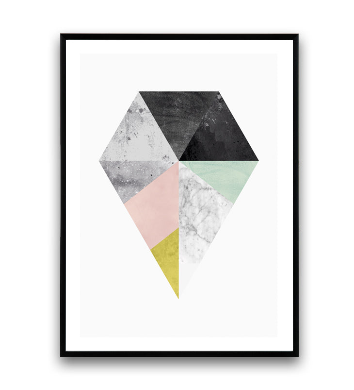 Geometric diamond print with marble texture - Wallzilladesign