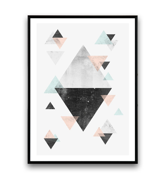 Triangles in light blue and pink art print - Wallzilladesign
