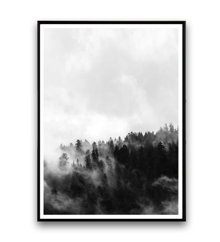 Foggy forest black and white print 1 - Wallzilladesign