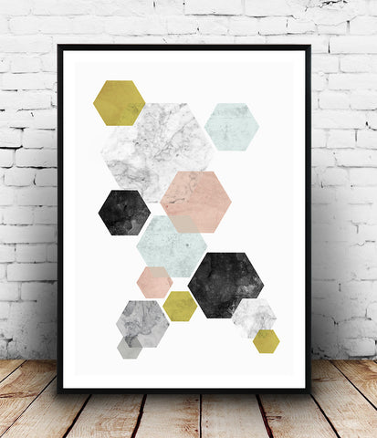 Hexagon abstract print, marble decor, modern art