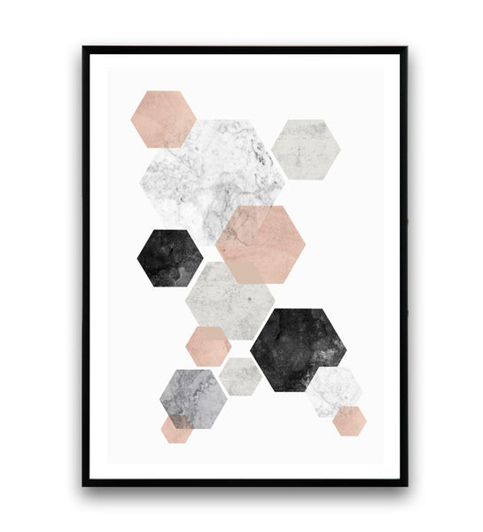 Minimalist wall art, pink and gray abstract print, hexagon decor - Wallzilladesign